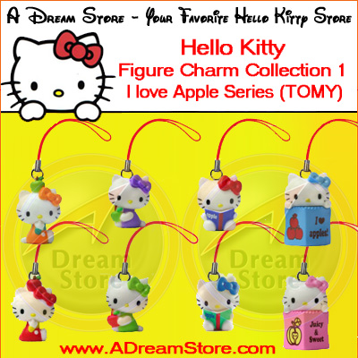 Detail Picture for FULL SET OF 8PC HELLO KITTY I LOVE APPLE CELL PHONE STRAP COLLECTION SERIES 1