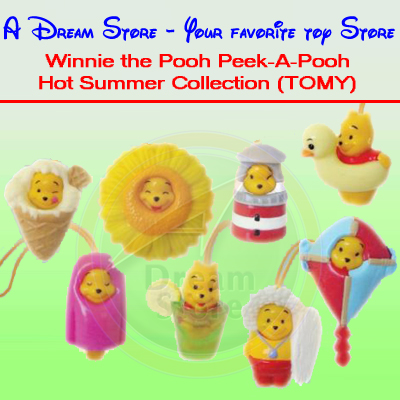 Detail Picture for FULL SET OF 8PC WINNIE THE POOH Peek-A-Pooh HOT SUMMER COLLECTION ITALY VERSION
