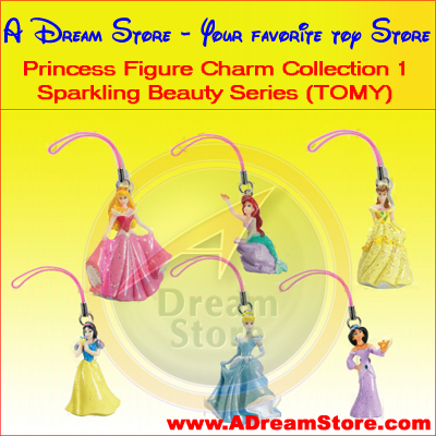 Detail Picture for FULL SET OF 6PC Disney Princess Figures Charm COLLECTION Series 1 BY TOMY