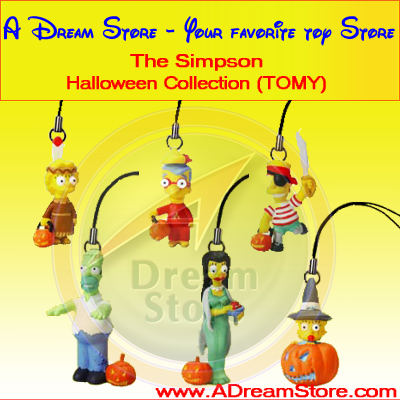 Detail Picture for FULL SET OF 6PC THE SIMPSON HALLOWEEN CELL PHONE CHARM COLLECTION