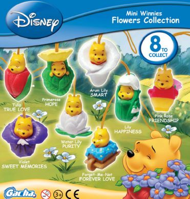Click for FULL SET OF 8PC WINNIE THE POOH Peek-A-Pooh MINI WINNIES FLOWERS COLLECTION CANADA VERSION Detail