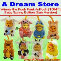 Click for FULL SET OF 8PC WINNIE THE POOH Peek-A-Pooh baby spring FIGURE COLLECTION Italy Verison Detail