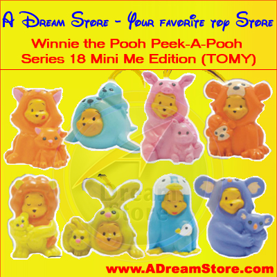 Detail Picture for FULL SET OF 8PC WINNIE THE POOH Peek-A-Pooh Mini Me EDITION CANADA VERSION