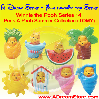Detail Picture for FULL SET OF 8PC WINNIE THE POOH PEEK-A-POOH SUMMER FIGURE COLLECTION SERIES 14